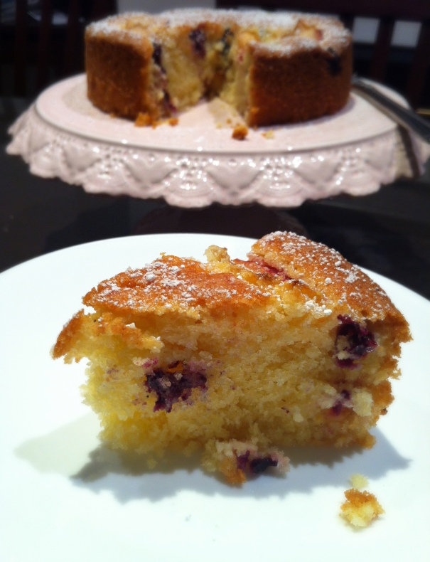 Plum and blueberry tea cake sliced