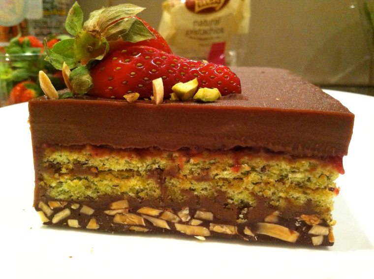 Almond, pistachio, chocolate mousse